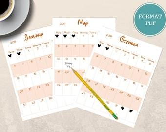 2019 calendar digital print/2019 calendar digital download/instant download 2019 calendar/printable calendar/digital write on calendar