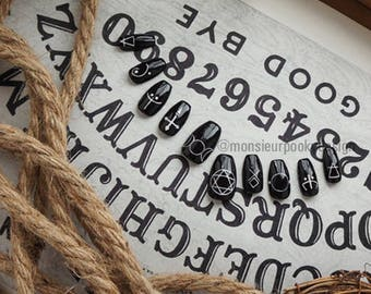 Set of false nails with symbols of witchcraft and wizardry