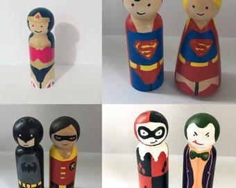 Superhero Peg dolls • wooden toys • villians • organic toys peg doll