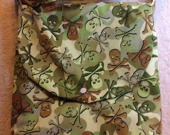 Green Camo Skull and Crossbones Adjustable Shoulder Bag