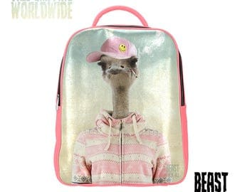 """Backpack """"Debby the Ostrich"""" by BeastThemAll© - Faux Leather Backpack - Custom colors Beige/Black/Pink/White"""
