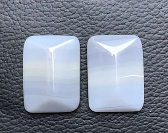 1 Pair Natural  banded agate Cabochon Fancy Cut Shape Jewelry Making Handmade Smooth Hand Polish Pendant Gemstone, Silversmith, Metalwork