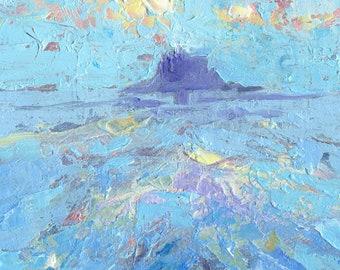 "Mini Oil Painting ""Lindisfarne Island"" 6"" x 6"" Framed Art. Impasto Painting of a  Misty Blue Seascape."