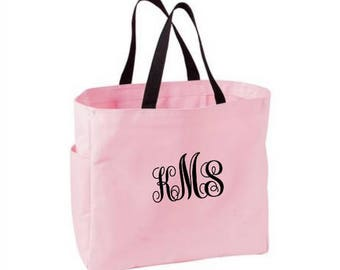 Monogram Personalized Pink Tote Bag