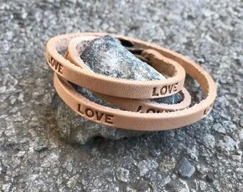 Love Triple Wrap Leather Bracelet