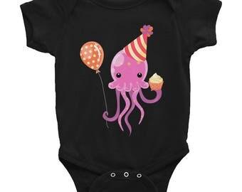 octopus jellyfish birthday cupcake balloon Infant Bodysuit