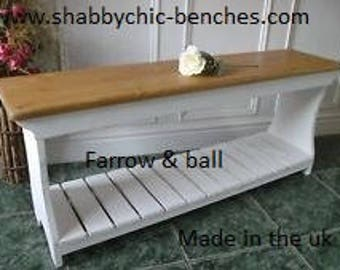 shabby chic bench with boot/shoe stand