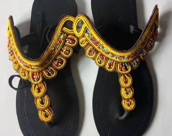African sandal, beaded sandal,masai sandal, leather sandal ,gift for her,kenyan sandal,hand made sandal,gladiators
