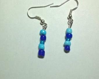 Triple Blue Earrings