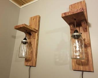 Wood Mason jar sconces wall lights
