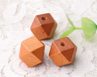 polygonal beads faceted cube wooden beads 10pcs 13mm brown beads natural wood beads