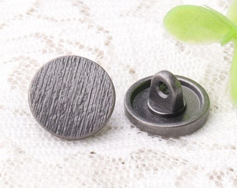 12*7mm striped buttons 10pcs metal zinc alloy light black buttons shank buttons coat sewing buttons