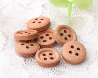 small brown wooden buttons small natural wood buttons 10mm 10pcs 4 holes sewing buttons blouse buttons