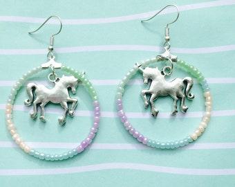 Unicorn seed beaded earring hoops.