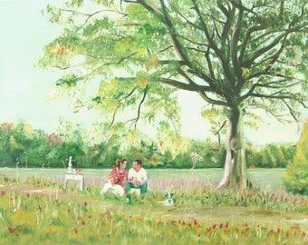Oil Painting Landscape Picnic Fine Art Impressionism Signed Original