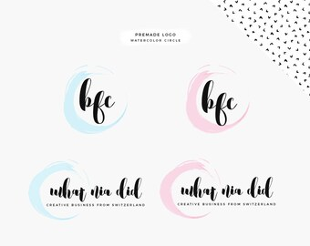 Premade logo for your blog or website: water color Circles
