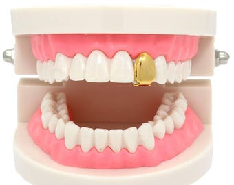 New Custom Fit 14k Gold Plated Small Single Tooth Plain Canine Cap Grillz Hip Hop Teeth