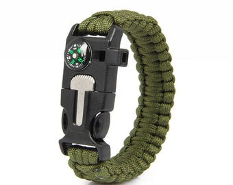 Survival Paracord Bracelet 5 in1 (Green)