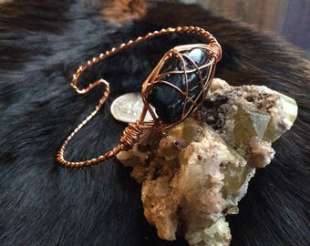 Black Tourmaline N Copper Pentagram Bangle