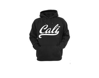 Hoodies for Women and Men Cali White Cotton Pullover Sweatshirt, Unisex Cali White Hand Written Hooded Sweatshirt
