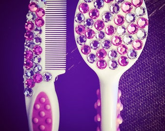 Embellished baby comb and brush set