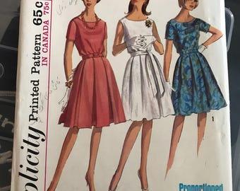 Vintage 1965 Simplicity 5865 Dress and Belt Pattern Misses 14 Bust 34