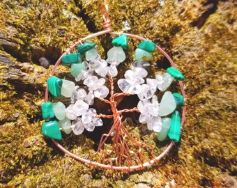 "Custom Birthstone Tree of Life ""Ray Lines"" Pendant or Suncatcher"