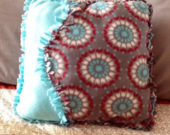 Fleece decorative no sew tied pillow, cushion