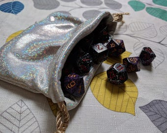Dice Bag, Drawstring Bag, Crystal Pouch, Gemstone Bag, Rune Bag