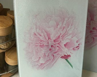 Tempered Glass Pink Peony Cutting Board - Small 12x7