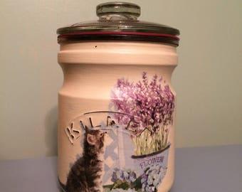 Decoupage storage jar