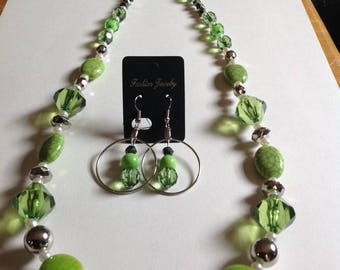Green necklace and earrings