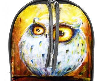 Hand Painted Backpack, Painted black Leather Bag, Handpainted bag,  Thoughtful owl