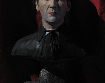 Hammer Horror Dracula Christopher Lee Painted Portrait Statue Bust