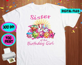 Shopkins. Iron On Transfer. Shopkins Printable DIY Transfer. Shopkins Sister Shirt DIY. Instant Download. Digital Files Only.
