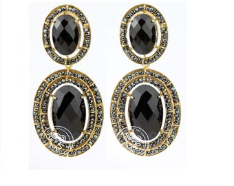 Onyx Earring with Spinelli