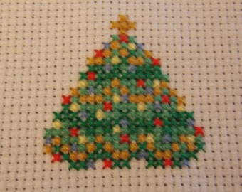 Miniature counted cross-stitch Christmas Tree