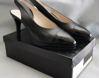 Vintage Chanel Capretto Black Slingback Heels Made in Italy - NEVER WORN