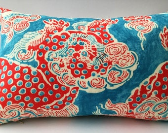 Turquoise Red White Abstract Decorator Throw Pillow Rectangle