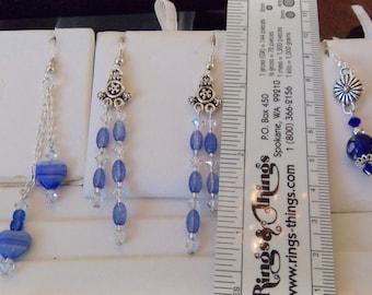 3 Shades BLUE Beaded Pierced Earrings