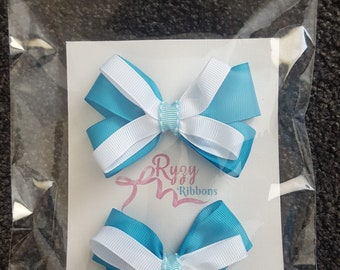 Blue and White hair ribbon bows with clips, ready to wear