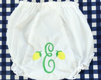 Monogrammed Lemon Bloomers, Monogram Baby Diaper Cover Personalized