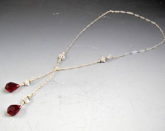 """Delicate Lariat with Red Garnet Colored Faceted Briolette Teardrops on Linked Sterling Silver Chain 21 1/4"""""""