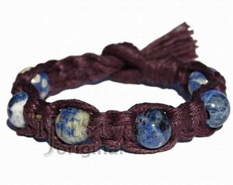 Dark Burgundy wide flat hemp bracelet or anklet with six sodalite beads