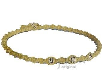 Olive Rainbow Twisted Hemp White Bone Beads Necklace