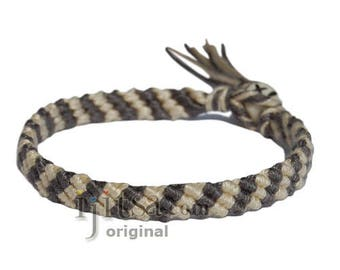 Grey and wheat Bamboo Yarn Diagonal Surfer Bracelet or Anklet
