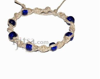 Natural twisted hemp bracelet or anklet with transparent blue glass beads
