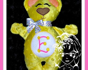 BeAR MoNOGRAM or NaME Applique 3D Plush Softie Toy ~ In the Hoop ~ Downloadable DiGiTaL Machine Embroidery Design by Carrie