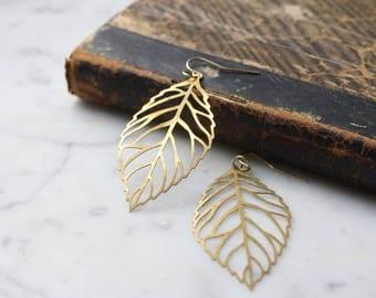 Vintage Brass Leaf Earrings | Small