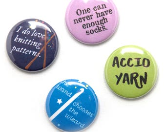 Harry Potter Knitter Theme Buttons, 1 inch pin back, Set of 4, Knit Magic